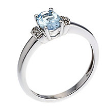 9ct white gold diamond and blue topaz ring - Product number 8101523
