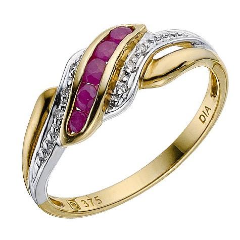 9ct yellow gold ruby/diamond ring