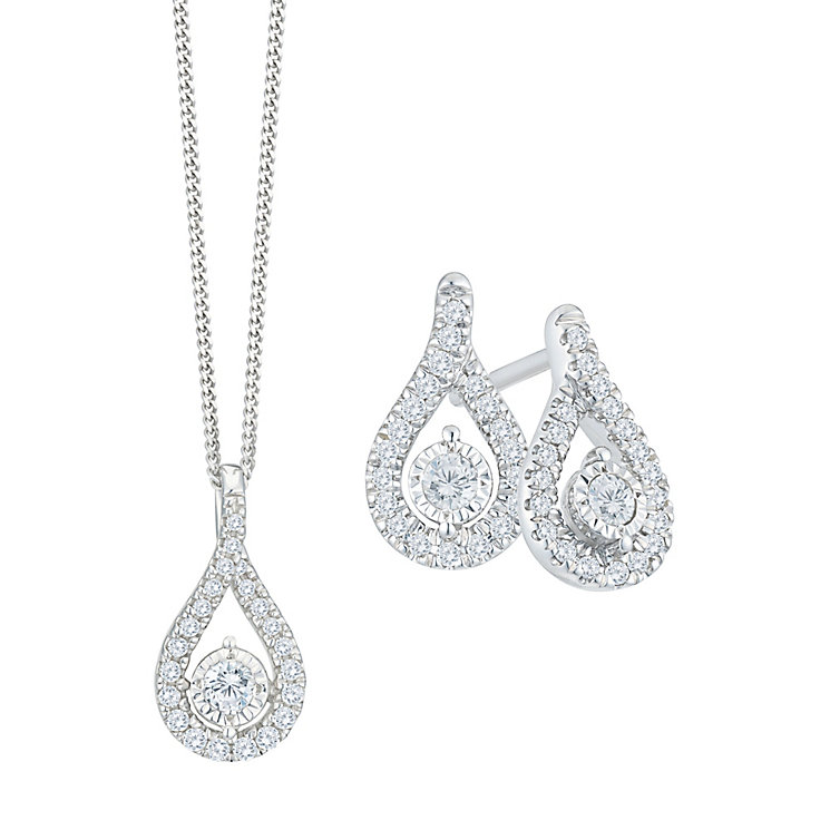 9ct White Gold 1/3ct Diamond Earrings & Pendant Set - Product number 8103283