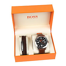 Boss Orange Men's Brown Leather Strap Watch Box Set - Product number 8104824