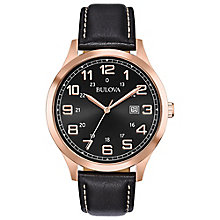 Bulova Men's Black Leather Strap Watch - Product number 8109273