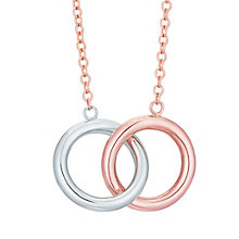 9ct White Gold & Rose Gold Double Circle Necklace - Product number 8111197