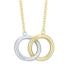 9ct White Gold & Yellow Gold Double Circle Necklace - Product number 8111200