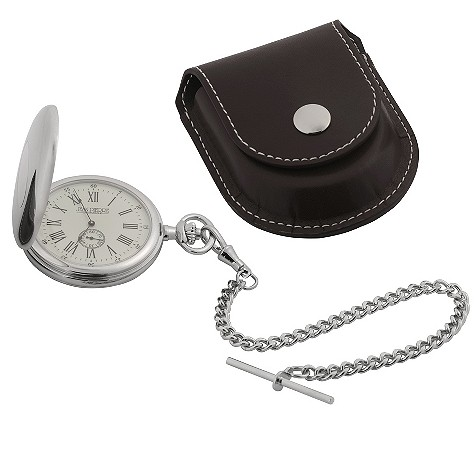 Jean Pierre hunter fob watch and chain with leatherette case