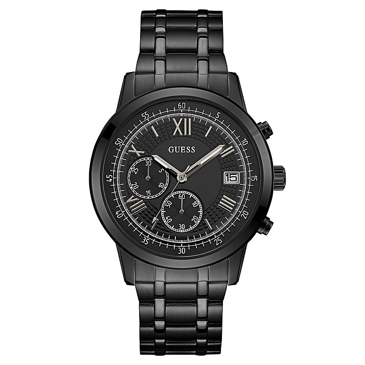Guess Men's Iconic Black Stainless Steel Bracelet Watch - Product number 8119589