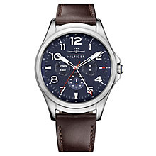 Tommy Hilfiger Men's Brown Leather Strap Hybrid Smartwatch - Product number 8120218