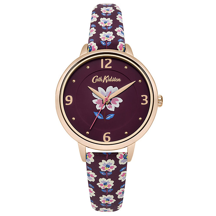 Cath Kidston Ladies' Red Floral Print PU Strap Watch - Product number 8120471