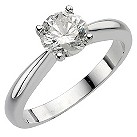 18ct white gold 1 carat diamond solitaire ring - Product number 8121788