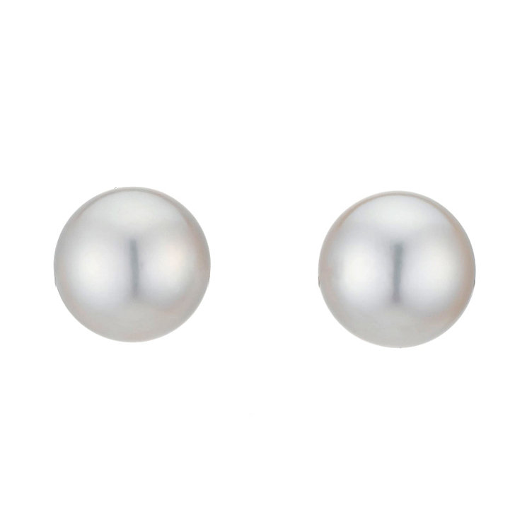 9ct White Gold Cultured Freshwater Pearl Stud Earrings 6mm - Product number 8125198