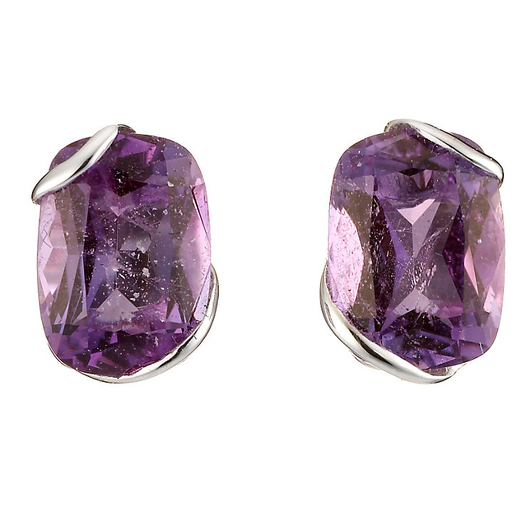 9ct White Gold Amethyst Stud Earrings H Samuel