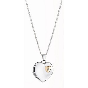 9ct Yellow Gold Silver and Diamond Locket