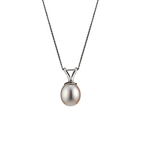 9ct White Gold Cultured Freshwater Pearl Oval Pendant - Product number 8126496