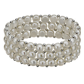 Sterling Silver Cultured Freshwater Pearl Elastic Bracelet - Product number 8126542