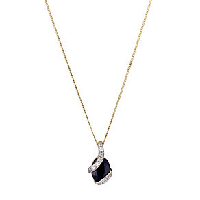 9ct Yellow Cubic Zirconia and Sapphire Pendant - Product number 8126631