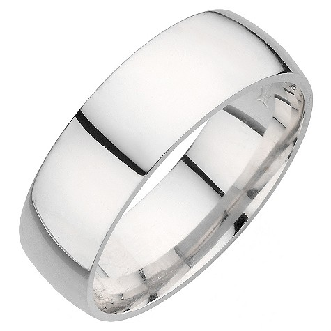 18ct white gold extra heavy 7mm court ring