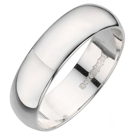 18ct white gold D shape extra heavy weight 5mm ring