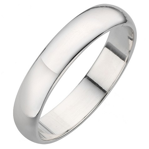 Platinum D shape extra heavy weight 4mm ring