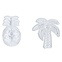 Sterling Silver Palm Tree & Pineapple Stud Earrings - Product number 8131074