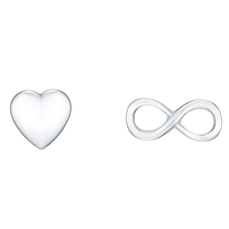Sterling Silver Infinity & Heart Mismatched Stud Earrings - Product number 8131236