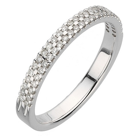 18ct white gold quarter carat double row diamond ring