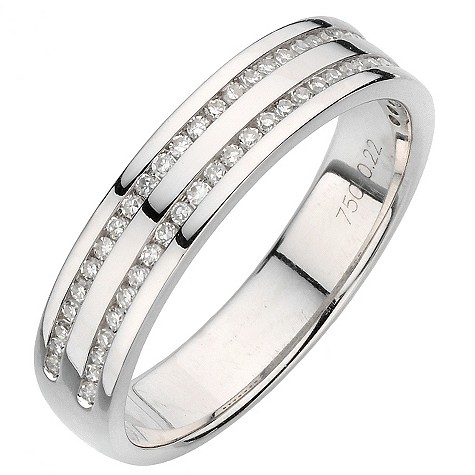18ct white gold twin channel 20pt diamond ring
