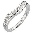 18ct white gold quarter carat round and baguette ring - Product number 8132275