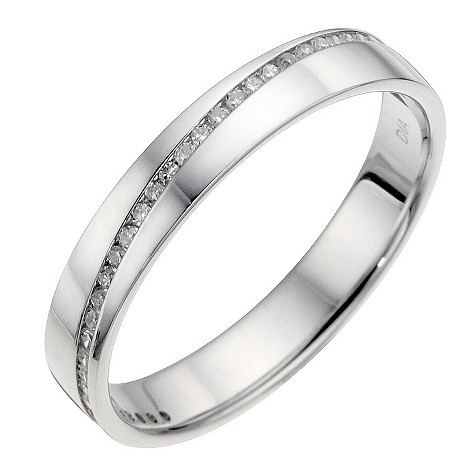 18ct white gold diagonal diamond set wedding ring