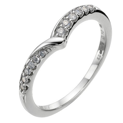18ct white gold diamond wishbone wedding ring