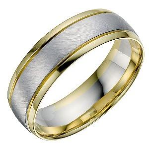 18ct white yellow gold mens wedding ring ernest jones