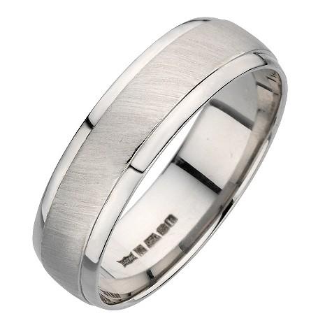 Palladium polished and matt ring 6mm