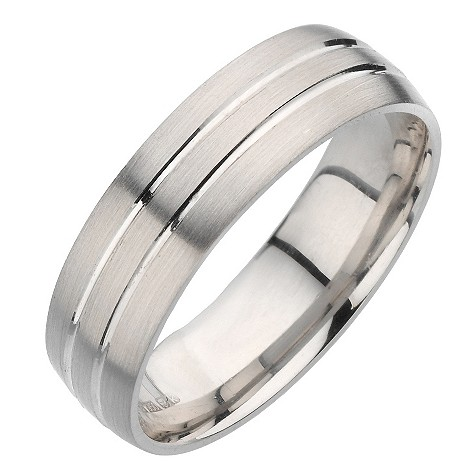 Palladium twin groove ring. 6mm