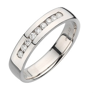Palladium quarter carat diamond ring 5mm - Product number 8137382