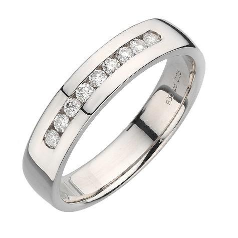 Palladium quarter carat diamond ring 5mm