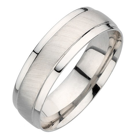 9ct white gold matt and polished ring