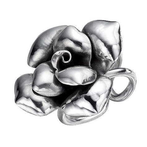 De Montfort adjustable large silver rose ring