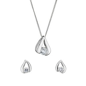 Sterling silver earrings and pendant set - Product number 8139059