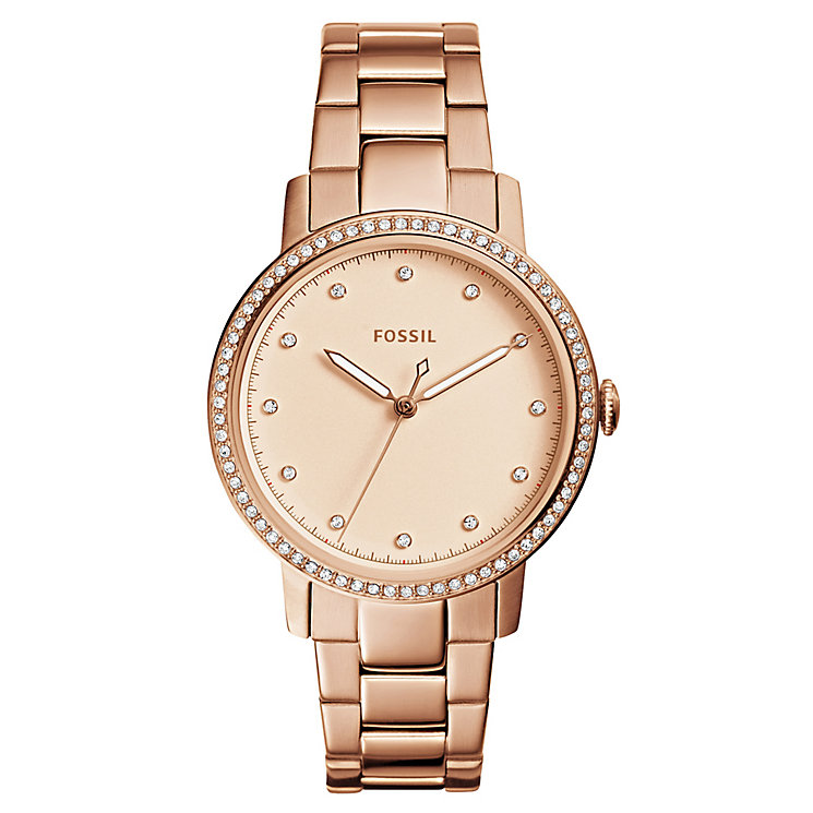 Fossil Neely Ladies' Rose Gold Tone Stone Set Bracelet Watch - Product number 8139512
