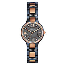 Fossil Virginia Ladies' 2 Colour Stone Set Bracelet Watch - Product number 8139547