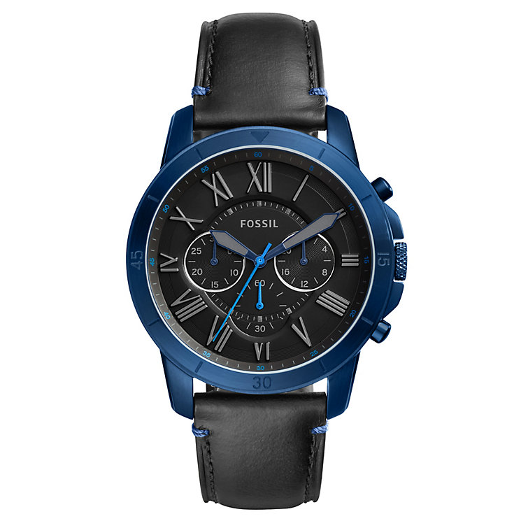 Fossil Grant Sport Men's Blue Ion Plated Leather Strap Watch - Product number 8139563