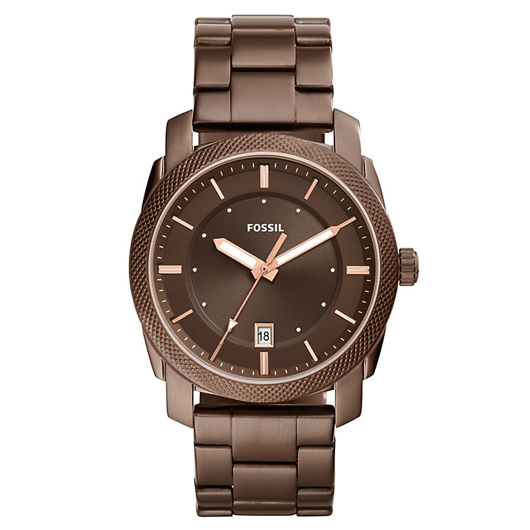 Fossil Machine Men's Brown Ion Plated Bracelet Watch - Product number 8139695