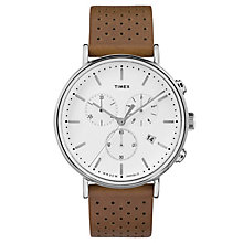 Timex Men's Fairfield Chronograph Brown Leather Strap Watch - Product number 8140405