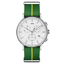 Timex Men's Fairfield Chronograph Green Nylon Strap Watch - Product number 8140413