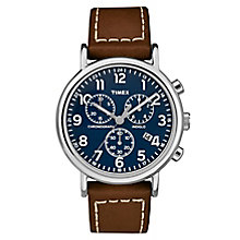 Timex Men's Brown Leather Strap Chronograph Watch - Product number 8140529