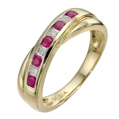 9ct yellow gold ruby and diamond cross over ring