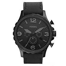 Fossil Nate Men's Chronograph Black Leather Strap Watch - Product number 8144729