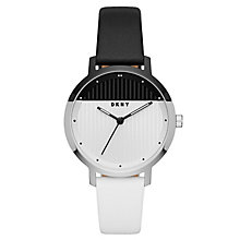 DKNY Modernist Ladies' Black & White Leather Strap Watch - Product number 8144907