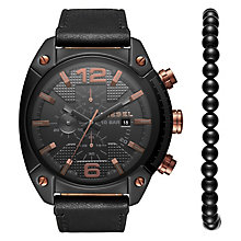 Diesel Overflow Men's Black Leather Strap Watch - Product number 8144990