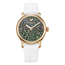Swarovski Rose Gold Tone Crystalline Hours White Strap Watch - Product number 8145644