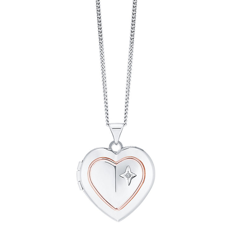 9ct Rose Gold & Sterling Silver Diamond Heart Locket - Product number 8145857