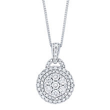 18ct White Gold 1ct Pave Round Diamond Pendant - Product number 8147191